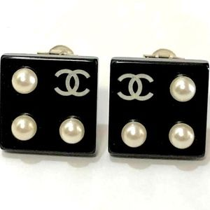 """Chanel Square """"CC"""" Logo Pearl Earrings- Authentic"""